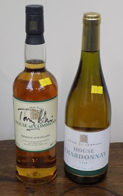 Bottle of House of Commons whisky signed by Tony Blair & bottle of  House of Commons Chardonnay