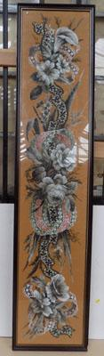 Tall framed panel Victorian beadwork, size-142cm x 32cm
