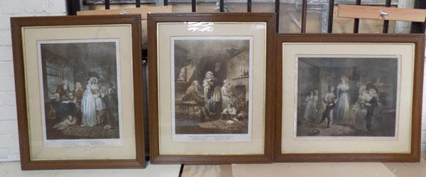 3x Framed Georgian mezzotint prints after George Morland (glass broken on one)