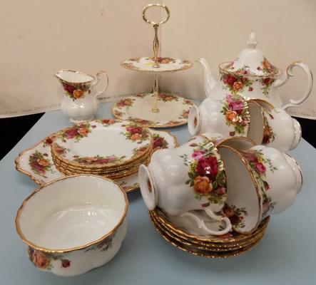 Royal Albert country rose tea set, milk, sugar, tea pot, sandwich plates & cake stand. (T-pot lid had restoration.)