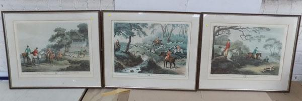 3x Framed Fox hunting prints-Georgian