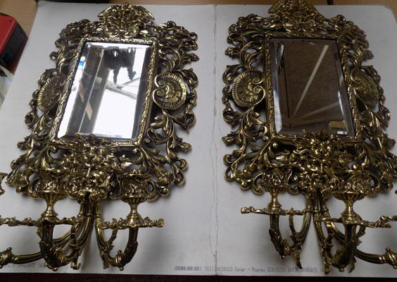 "Pair of late 1800's ornate brass sconces. Approx 23"" long x 13"" wide"