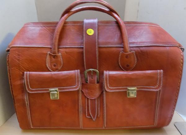 Brown hide leather luggage bag