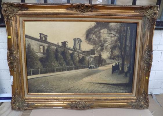 Oil painting Victoria Road, Saltaire by H Hardwick (some damage)