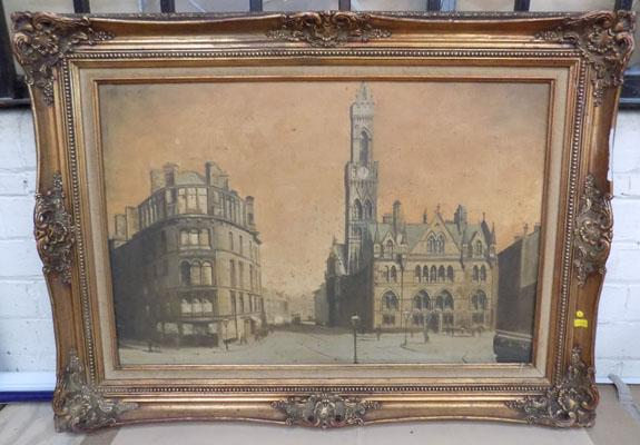 Oil painting City Hall, Bradford by H Hardwick