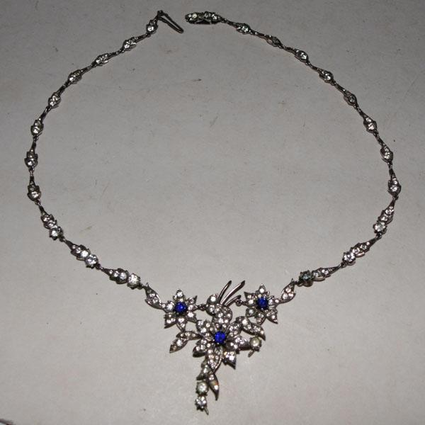 Vintage solid silver necklace with blue & white stones