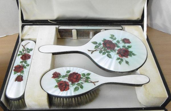 Silver & enamel boxed 4 piece brush set with original receipt