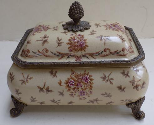 Antique Victorian brass and ceramic casket
