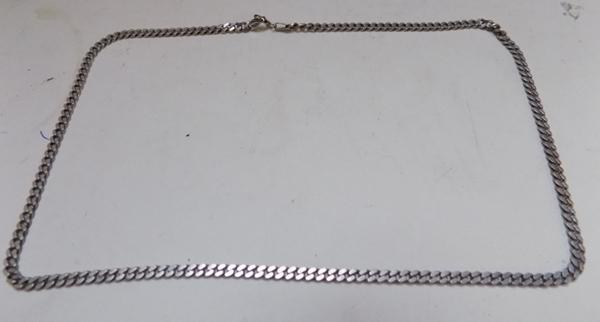 Solid silver flat linked chain (42cm - 11.7grams)