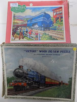 2 vintage Victory wooden train jigsaws - complete