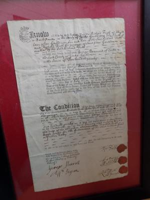 Framed indenture 1734.