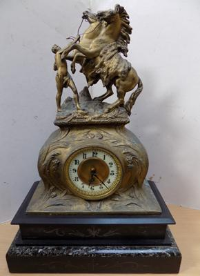 "Antique French clock on marble base - 20"" high"