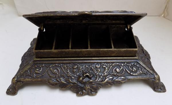 Antique Victorian stamp/desk tidy with Neo Classical relief decoration