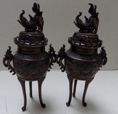 "Pair of Bronze incense burners - 8.5"" each"