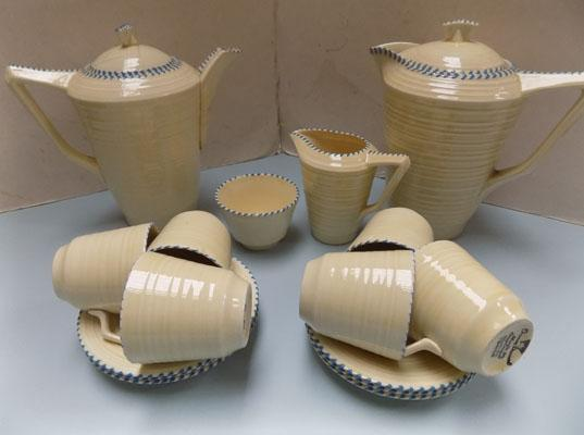 Crown Ducal stitch pattern coffee set-6 cups/saucers, milk, sugar, coffee pot (lid at fault) & milk pot