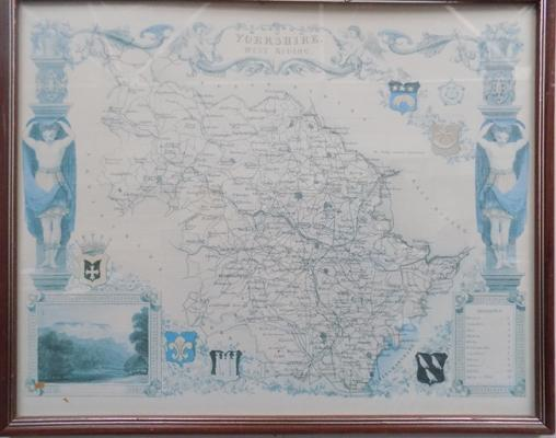 "Framed map of Yorkshire (17"" x 21"")"