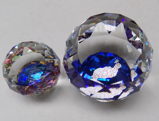 Swarovski Lanzarote Souvenir paperweight and small Guernsey paperweight