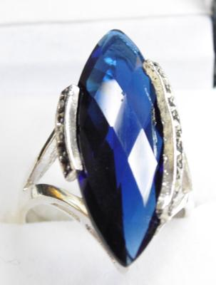 Silver blue sapphire and marcasite ring