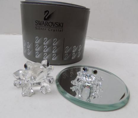 Swarovski medium and small frog and glass stand with box