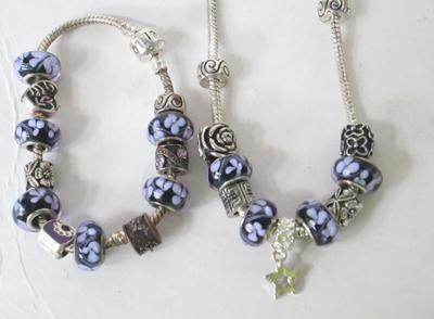 Pandora style charm bracelet and necklace
