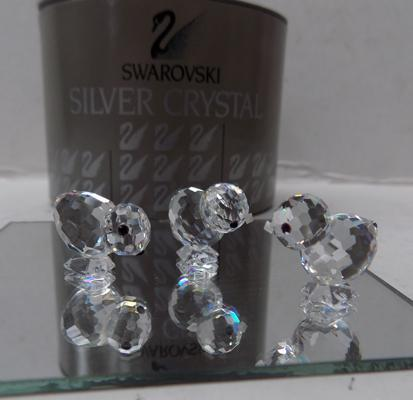 Swarovski 2 small chickens and glass stand with box