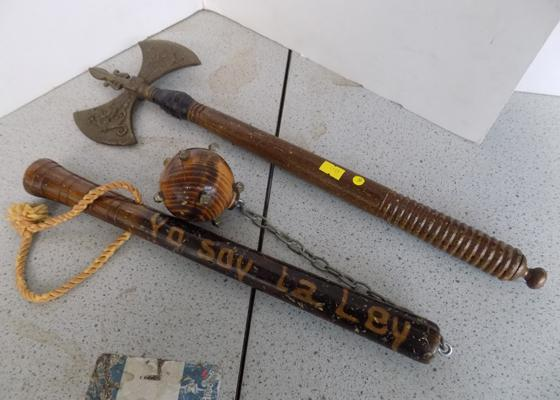 2 x Chinese double edged axe and wooden mace-display