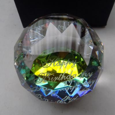 Happy Birthday crystal paperweight with box