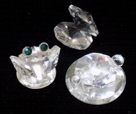 Swarovski crystals x 3 - turtle, frog and oyster & pearl