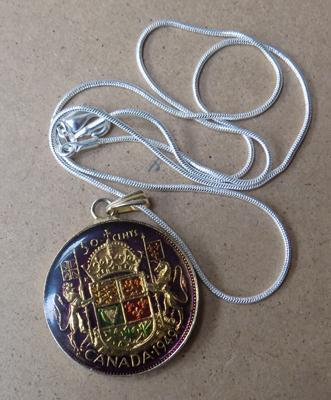 Enameled silver coin pendent on chain
