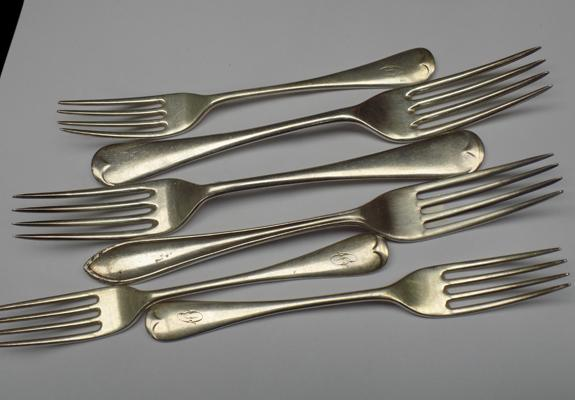 Selection of silver forks - various hallmarks (approx 350 grams)