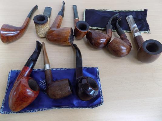 Set of 10 smoking pipes incl: Meershaum and Barling