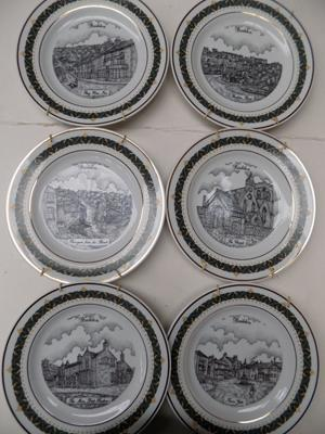 6 Canterbury collection plates of Baildon with 18ct gold border