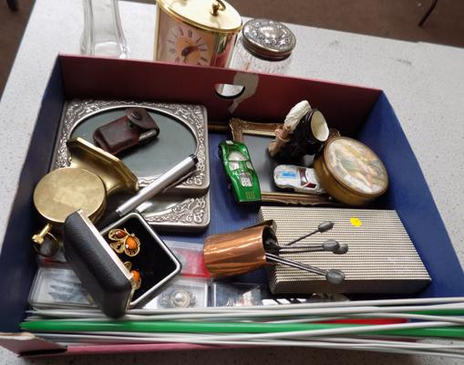Tray of collectables incl: silver jar, carriage clock etc.