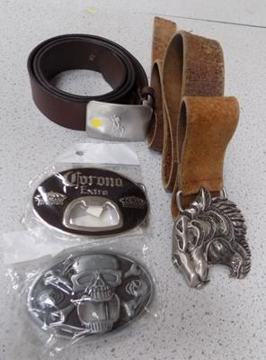 2 belt buckles and 2 belts (including genuine Ralph Lauren)