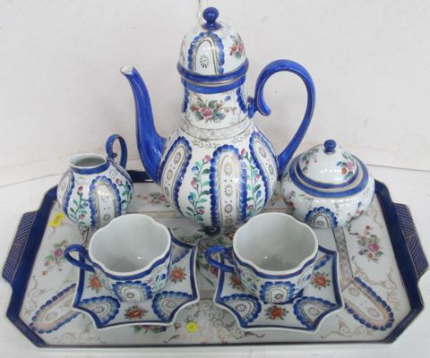 Blue and white coffee set