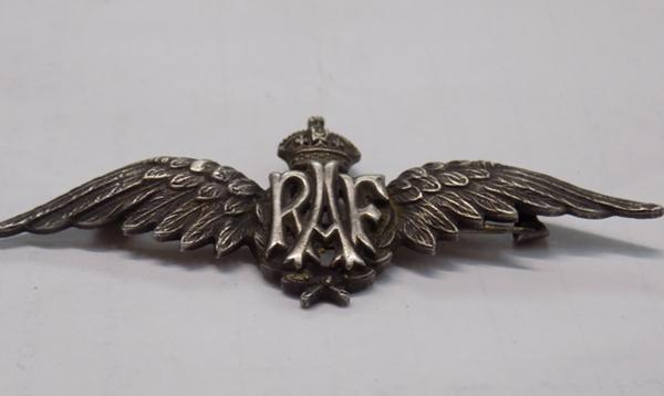 Sterling silver RAF winged brooch