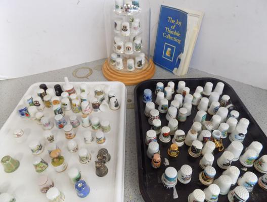 Selection of collectors thimbles and display stand