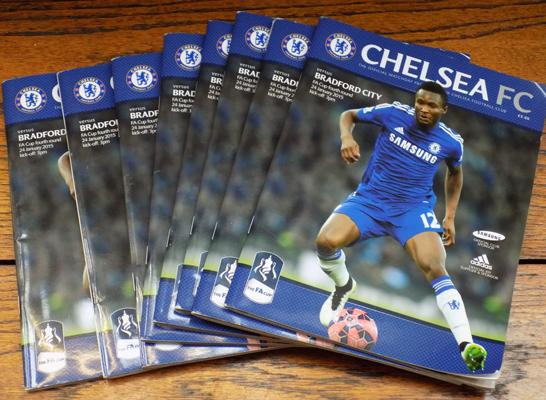 8 Chelsea football programmes (FA cup shock)