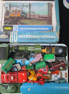 Box of diecast models incl: clockwork trainset