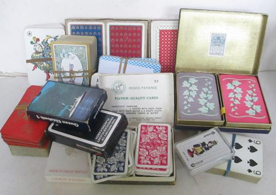 Box of vintage playing cards