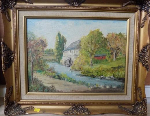 "Ornate framed oil of watermill - slight damage to frame. (21"" x 182)"