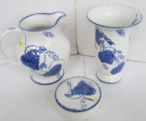 A trio of Poole blue and white pottery