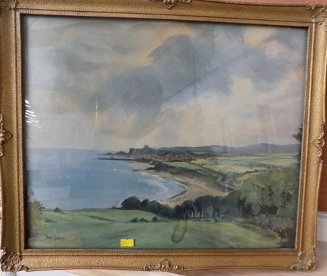 "Ornate framed oil of coastline by Tom Sykes. (20"" x 17"")"
