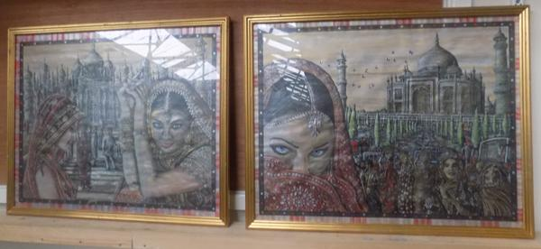 "Pair of hand painted India pictures  (27"" x 22"")"