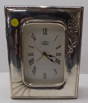 Silver framed clock (approx 15cm high)