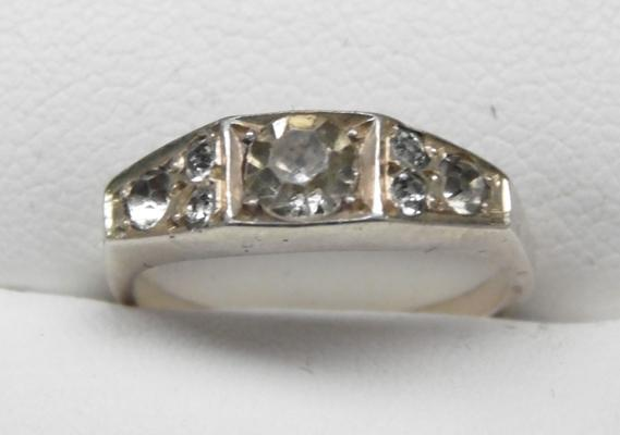 Silver Art Deco style ring - size approx J