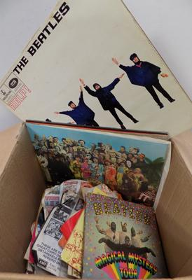 "Box of 7"" records and LPs"
