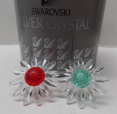 Swarovski green flower and red flower in box