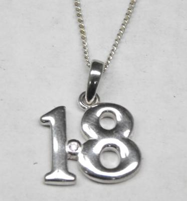 Sterling silver necklace with '18' pendant