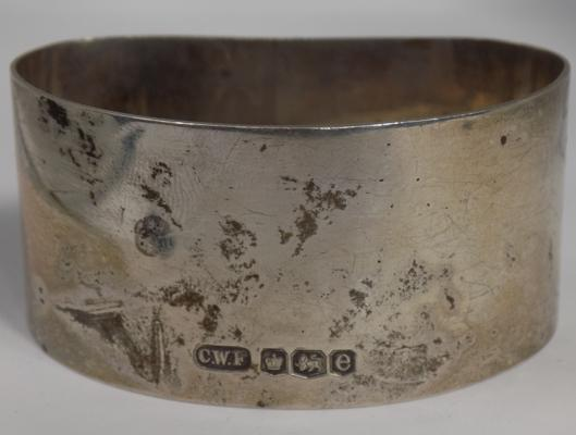 Heavy sterling silver thick banded napkin ring-Sheffield 1922